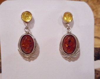 Vintage  Orange and Yellow BALTIC AMBER / Wax-Cast Sterling Silver/ Post Earrings