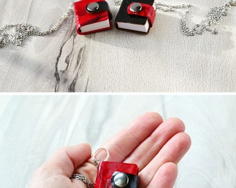 Mini book pendant Tiny book necklace Small book Miniature book Leather book Red notebook Black notebook Small journal Leather keychain book