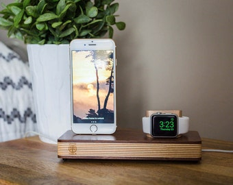Wooden Apple Watch Stand, Apple Watch Docking Station, Mens Gift, Iphone Dock, Iphone Docking Charging Stand, Iphone Dock, Apple watch stand