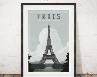 Vintage travel poster, Vintage poster, Paris art print, Paris poster, Travel print, Vintage art, Eiffel tower art, Home decor, Retro poster