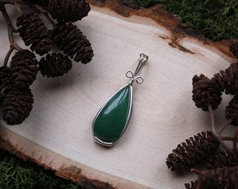 Wire Wrapped Teardrop Green Aventurine Pendant