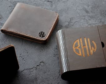 Custom Christmas Husband Gift Leather Wallet Initials Monogram Gift for Groom Groomsmen Best Man Gift Father in Law Brother Custom Gift