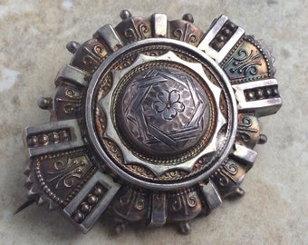 Antique 1877 Victorian Hollow Layered Brooch Aesthetic Period Birmingham Sterling Silver