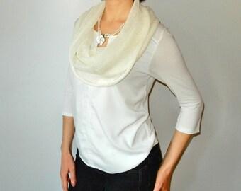 Ivory Knit Shawl Linen loop Scarf Spring Shawl Woman circle scarf Knit cowl Scarf Ladies shawls wraps Head-covering Infinity shawl scarf