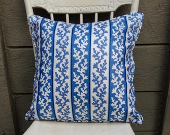 Blue and White Pillow, Stiped PIllow, Coral Pillow , Chintz Pillow - 20x 20 inch