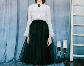Black and white wedding dress, Two piece wedding dress, Custom wedding dress, Summer wedding dress,  Vintage wedding dress - 0133 // 2017