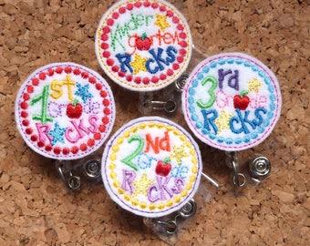 SCHOOL ROCKS Badge Reel   Retractable Badge Holder   Lanyard   Kindergarten   1st Grade   2nd Grade   3rd Grade   1290 1291 1292 1293