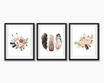 Set of 3 Prints Tribal Feather Decor, Boho Baby Nursery Decor, Bohemian Bedroom, Boho Wall Art Decor, Hippie Bedroom Decor Set of 3 Wall Art
