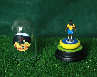 Pele (Brazil)  - Hand-painted Subbuteo figure housed in plastic dome.