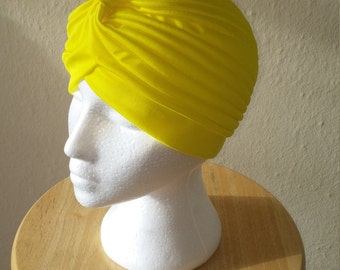 Vintage Bright/Flourescent Yellow Polyester 1940s/1950s Style Stretch Turban - One Size