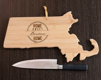 Massachusetts State Shaped Cutting Board, Engraved Massachusetts Shaped Cutting Board