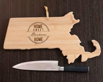 Massachusetts State Shaped Cutting Board, Engraved Massachusetts Shaped Cutting Board