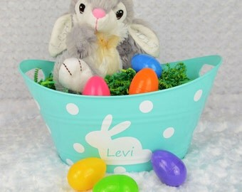 Blue Personalized Easter Bucket - Easter Gift - Personalized Gift - Easter Bunny