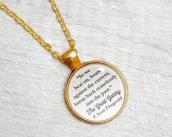 "The Great Gatsby Quote Necklace F Scott Fitzgerald ""So we beat on boats against the current"" Literary Jewelry Jewellery"