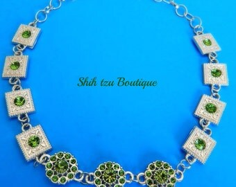 "Pet Necklace, Small Dog Necklace, Model:""Tenderness"". Designed by Tina Esch. USA Shih Tzu Boutique"