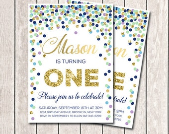 Mint Navy Purple Gold Confetti Birthday Invitation First Birthday Invitation Boy Birthday Invitation Any Age Printable Invitation