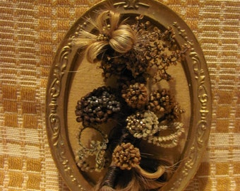 Mourning Hairwork Original Family Multi-Colored Hair Flowers Decorative Gold Beads & Oval Frame