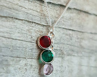 Triple Swarovski Birthstone Sterling Silver Necklace