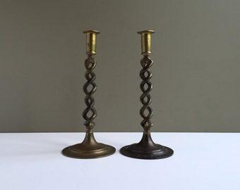 Antique Brass Candleholders, Open Barley Twist Candlesticks, Farm House Decor