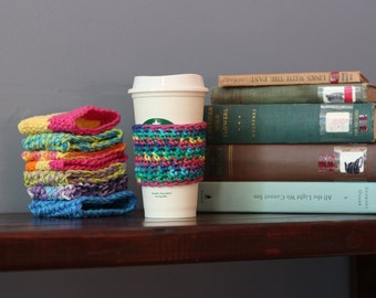 Coffee Cozy // Vegan Rainbow Crochet Coffee Cozy // Crochet Coffee Cup Cover // Reusable Cotton Coffee Cup Sleeve