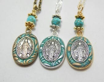 Mother Mary Necklace Locket Blessed Mother Virgin Mary