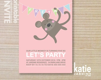 kids invitation  - printable invitation - monkey invitation - swinging monkey - girls invite - pink - purple - spots