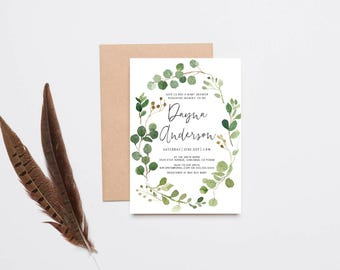 Watercolor Leaf Baby Shower Invitation, Woodland, Gender Neutral Invitation (1006)