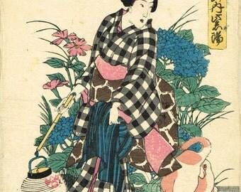 Japanese original Ukiyo-e Woodblock print, Yoshisada,  Edo-period