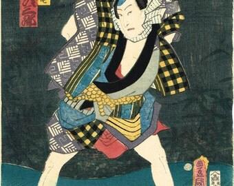 Japanese original Ukiyo-e Woodblock print, Utagawa Toyokuni, Kabuki actor, Edo-period
