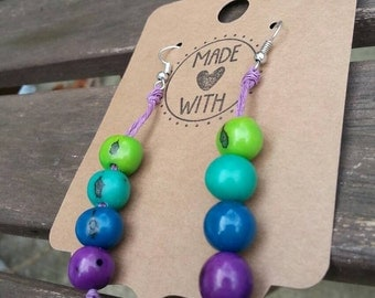 Ombre Acai Seed Earrings ~ Multicolored Natural Eco Friendly Product Jewelry ~ Purple Blue and Green Ombre Earrings ~ Purple Hemp Jewelry