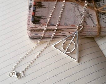 925 sterling silver Deathly Hallows pendant on a chain