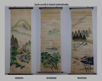 "Kakejiku WINTER Painted Scroll Japanese ""Kisetsu-gake"""