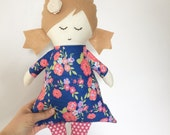 AVA fabric doll, rag doll gift for kids, cloth doll gift for toddler girls, ragdoll, pink floral dress, baby shower gift, christmas gift