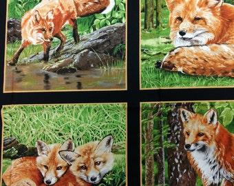 Fox panel of fabric. woods forest hunting quilters cotton quilting 1169