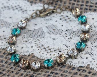 Antique Brass, Blue Zircon and Topaz Bracelet