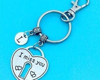 Heart Lock Keychain, I Miss You Lock Key Chains, Custom Any Charm, Lock  Keyring, Personalized Keychain, Heart Lock Key Ring, Charm Keychain