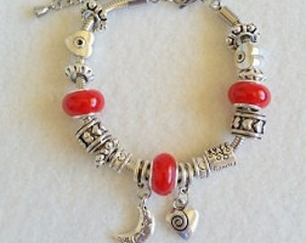 European-style bracelet with solid color beads