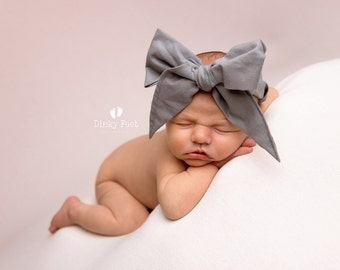 PLATINUM Gorgeous Wrap- headwrap; fabric head wrap; grey head wrap; boho; newborn headband; baby headband; toddler headband