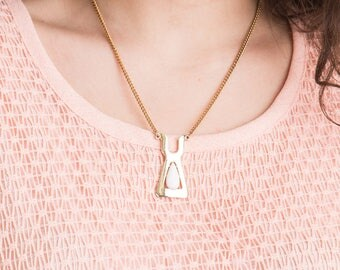 80s Geometric Gold Necklace