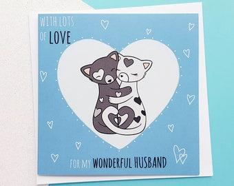 HUSBAND Card Handmade - Cute Cats Card | Husband Anniversary Card, Husband Birthday Card, Cards for Husband, Cute Husband Card | Romantic