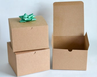 Gift Boxes, 10 Paper Boxes, Party Favor Boxes, Kraft Boxes, Kraft Gift Boxes, Christmas Gift Boxes, Wedding Favor Boxes, Treat Boxes 6x6x4""