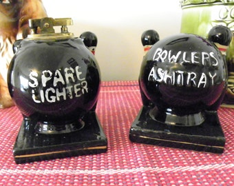 Bowler's Ashtray And Spare Lighter Set By Tilso Japan