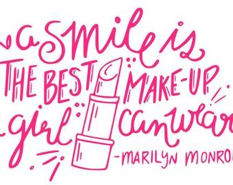Smile Marilyn Quote SVG File, Quote Cut File, Silhouette File, Cricut File, Vinyl Cut File