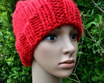 Red Slouch Beanie Hat