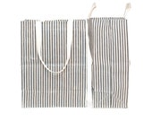 Grocery Tote // Reusable Grocery Bag // Striped Grocery Tote // Extra Large Market Bag // Waxed Canvas Bags // Reusable Grocery Bag