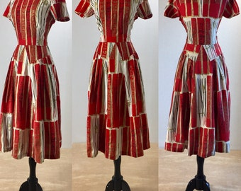 "1950's Alfred Shaheen Polished Cotton ""Joss Sticks"" Asian Inspired Print Dress 