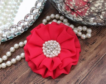 """4"""" HOT PINK Chiffon Fabric Flowers with Crystal Pearl Center - Fluffy - Beautiful -Hair Accessories - Wedding - TheFabFind"""