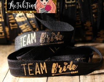 "5/8"" inch Team Bride - Bridesmaid Gift - Gold Foil on Black - Fold Over Elastic - By the Yard- Shiny DIY For Headband or Hair Tie"