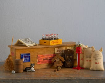 Miniature General Store Counter & Supplies - 1:12 Scale Vintage Dollhouse Accessories