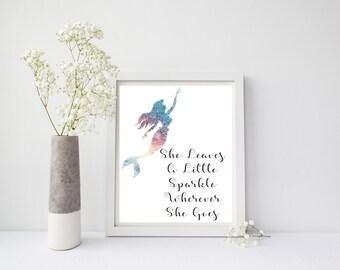 Nursery Print, She Leaves A Little Sparkle Wherever She Goes Printable, Rainbow Foil, Rainbow Nursery Print, Kids Decor, Kids, Nursery Art